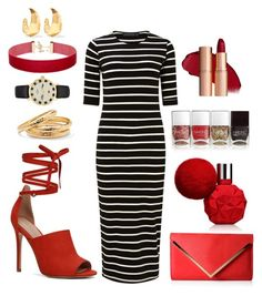 """""""Black white red gold"""" by colesumler on Polyvore featuring Sugarhill Boutique, ALDO, Kate Spade, Kenneth Jay Lane, Palm Beach Jewelry and Nails Inc."""