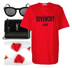"""Givenchy"" by monmondefou ❤ liked on Polyvore featuring Yves Saint Laurent, Givenchy, black, red and whitesneakers"