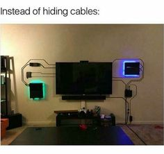 Installation Home Cinema, Wall Installation, Deco Gamer, Home Theater Setup, Theater Rooms, Entertainment Wall, Hide Wires, Video Game Rooms, Man Cave Video Game Room