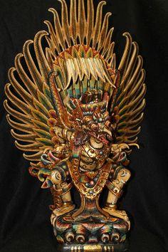 Bali Polychrome Art Garuda Carved Eagle Wood Sculpture | eBay    similar to hudri/ still indonesian mythos