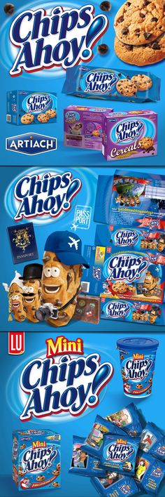 Client: Chips Ahoy de Artiach / Agency: Freshthink / Year: / Restyling NewLine and Promoti Candy Packaging, Juice Packaging, Chocolate Packaging, Packaging Ideas, Chips Ahoy, Chocolates, Mini Chips, Fish Feed, Food Advertising