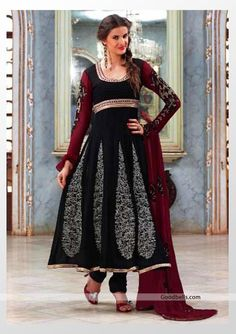 New pattern jacket style churidar suit with pink and red shade