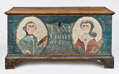 Dower chest with portrait bust decoration Probably Dauphin County, Pennsylvania, dated 1791 Yellow pine, white oak, original wrought iron . Painted Trunk, Painted Chest, Painted Boxes, Primitive Furniture, Primitive Antiques, Primitive Folk Art, Country Furniture, Antique Chest, Antique Boxes