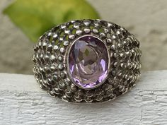 Sterling Silver Amethyst Dome Ring - Yourgreatfinds, Vintage Jewelry - 1