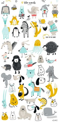 Kids clipart with animals, lettering, zoo ABC Vector illustration in scandinavian style