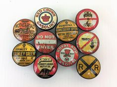 Set of 10 Vintage Road Signs Print Cabinet Knobs Sent Pins, Sign Printing, Oil And Gas, Cabinet Knobs, Wood Print, Crafts, Etsy, Vintage, 3d Printer