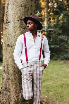 Groom in Check Trousers and Braces for Woodland Wedding | By Kirsty Mackenzie Photography | Boho Wedding | Woodland Wedding | Outdoor Wedding | Bright Flowers for Wedding | Flower Crown for Bride | Boho Wedding Ideas | Curly Haired Bride | Groom Outfit