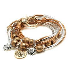 Boho wrap bracelet with Tree of Life Charm trio in Metallic Golden Sun leather, comes as shown