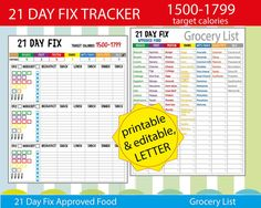Funny and Easy 21 Day Fix Tracking Sheet! Use 21 Day Fix SheetTarget Calories 1500-1799 for tracking your everyday meals! It helps you stay