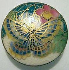GORGEOUS Antique BUTTERFLY SATSUMA Button