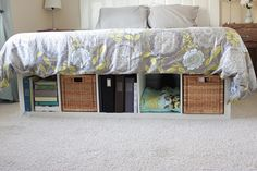I love this idea at the end of the Bed for more storage!!