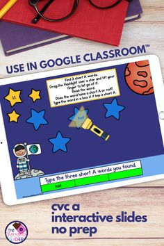 How about some NO PREP paperless digital CVC Words fun? This CVC short A Google Slides™ product is compatible with Google Clsassroom™. All you do is download, assign, Teaching Phonics, Teaching Language Arts, Kindergarten Literacy, Literacy Centers, Teaching Reading, Learning, Teaching Tips, Short A Activities, Blending Sounds