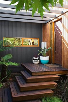 """True to the saying """"never judge a book by its cover"""", this couple were won over by the original features of this suburban Melbourne weatherboard cottage. Deck Design, House Design, Deco Spa, Corner Deck, Corner Pergola, Exterior Wall Cladding, Timber Cladding, Deck Steps, Porch Steps"""