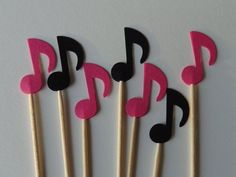 Items similar to 24 Pink and Black Music Notes Food Picks - Cupcake Toppers - Party Picks on Etsy Daisy Party, Cheerleader Party, Music Themed Parties, Music Party, Party Food Themes, Birthday Party Themes, Party Ideas, Rockstar Party, Rock Star Theme