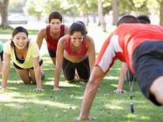 Boot camp fitness classes combine cardio moves, strength training, and agility work into one intense sweat session #fitness #exercise