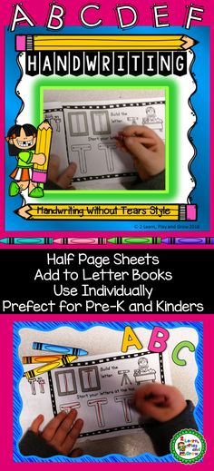 These handwriting practice sheets are perfect for kindergarten and preschool.  Do you use Handwriting Without Tears in your classroom?  You'll love the blended approach to handwriting practice.  Works with traditional handwriting practice as well as Handwriting Without Tears HWT style.