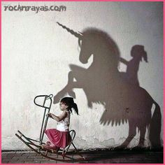 Children can imagine anything, children imagination, shadow pictures, power of imagination, importance of imagination Real Unicorn, Ouvrages D'art, Belle Photo, Art Studios, Oeuvre D'art, Dream Big, I Have A Dream, Art Photography, Shadow Photography