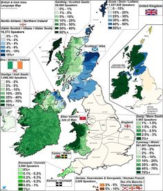 Language and dialect map of UK and Republic of Ireland. Uk History, British History, Map Of Britain, European Map, Celtic Nations, Ireland Map, Irish Language, Republic Of Ireland, Historical Maps