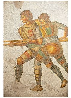 6th century Byzantine Roman mosaics of a hunters from the peristyle of the Great Palace from the reign of Emperor Justinian I. Istanbul, Turkey.  | © Paul Randall Williams 2012