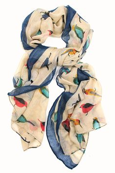 This cute scarf is selling out quickly!! For the Birds Scarf in Beige $14.99 // via http://spottedmoth.com