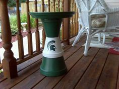 Michigan State birdbath made by Christine Alexander