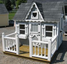 Small Victorian Wooden Outdoor Playhouse Kit - 4 x 6 - 4x6 SMVP-WPNK