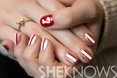 San Francisco 49er's Super Bowl nail design