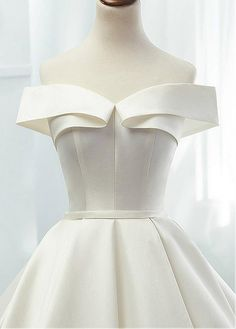 Modest Satin Off-the-shoulder Neckline A-line Wedding Dresses With Belt - .cn - Magbridal Modest Satin Off-the-shoulder Neckline A-line Wedding Dresses With Belt Modest Satin Off-the-shoulder Neckline A-line Wedding Dresses With Belt - . Western Wedding Dresses, Modest Wedding Dresses, Wedding Dress Styles, Bridal Dresses, Bridesmaid Dresses, Modest Skirts, Gown Wedding, Lace Wedding, Look Fashion