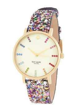 Kate Spade Metro Grand Crystal Multicolor Interchangeable Strap Watch, glitter is so perfect for Christmas and NYE