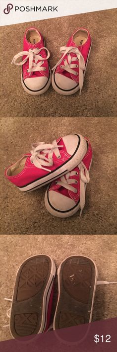 Toddler girl converse all stars Bright pink...used but in great condition...still has a lot of wear left Converse Shoes Sneakers
