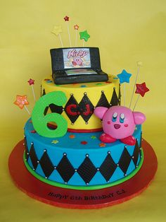 Nintendo DS  Kirby Themed Birthday Cake cakepins.com