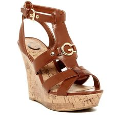 G by GUESS Dashh Wedge Sandal ($40) ❤ liked on Polyvore featuring shoes, sandals, rio maple, platform sandals, ankle strap platform sandals, ankle wrap wedge sandals, cork wedge sandals and open toe wedge sandals