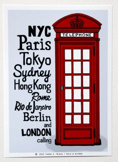 The Red Telephone Box  Illustration by Taren S by osloANDalfred, $15.00 - The most common postbox is the red one, but only in london, everywhere else, they are black and grey mostly.