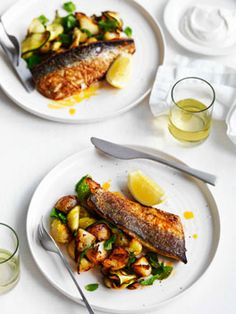 Harissa-grilled mackerel with potatoes, zucchini and mint
