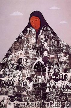 This collage with lots of black and white pictures of figure build the drape of a woman. This work also generated a religious work like feeling.