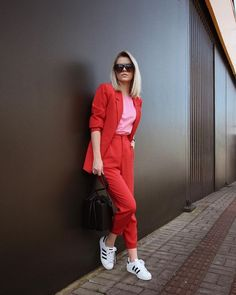 red and pink outfit pink t-shirt red blazer red suit pants adidas superst - Addidas Shirt - Ideas of Addidas Shirt - red and pink outfit pink t-shirt red blazer red suit pants adidas superstar sneakers. Red Pants Outfit, Blazer Outfits, Pink Outfits, Casual Outfits, Fashion Outfits, Womens Fashion, Suit Pants, Red Outfits For Women, Fashion Scarves
