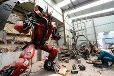 Industrious (and perhaps slightly bored?) farmers in rural China have built their own versions of the iconic Transformer robots out of car p...