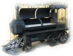 oklahoma country smoker offset smoker loco trein model 24 inch Bar B Que Grills, Gas Bottle Wood Burner, Wood Stove Heater, Bbq Smoker Trailer, Custom Bbq Pits, Offset Smoker, Bbq Area, Outdoor Crafts, Iron Furniture