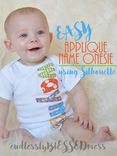 Name Applique Onesie Tutorial Using Your Silhouette Cameo Etsy Embroidery, Shirt Embroidery, Silhouette Vinyl, Silhouette Cameo Projects, Applique Onesie, Best Embroidery Machine, Applique Tutorial, Diy Shirt, Baby Design