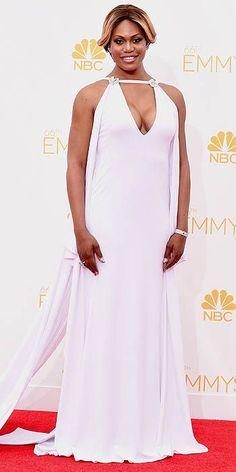Emmy's 2014: Laverne Cox in custom Marc Bouwer, Fred Leighton jewels, Stuart Weitzman heels