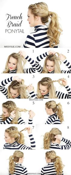 Side French Braid Ponytail Hairstyle Tutorial #BraidedHairstyle click now for more info..