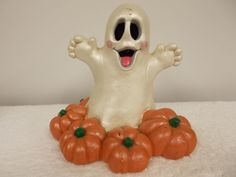Vintage 1980 Juta Halloween Happy Ghost Pumpkins Heavy Ceramic Figurine Statue