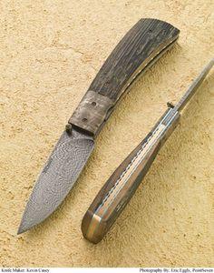 Kevin Casey Custom Knives : Folders : Casey Feather Damascus Folder #011