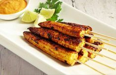 Heres an great Babycorn Appitizer a valentines day Contest Recipe- The Spicy Babycorn Satay Recipe where in the babycorn is marinated and then pan fried.This recipe is full of flavors of spices and yogurt.Serve with peanut dipping sauce or green chutney Easy Appetizer Recipes, Healthy Appetizers, Healthy Snacks For Kids, Appetizers For Party, Party Snacks, Light Appetizers, Healthy Dips, Party Recipes, Snack Recipes