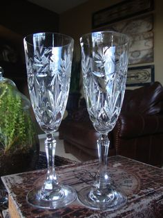 Set of 2 Vintage Pinwheel Cut Fluted Champagne Crystal by tycaalak, $25.00