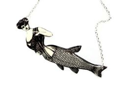 Corset Mermaid Necklace Victorian Black and White Illustration Statement Jewelry Customize Nautical Victorian Fish
