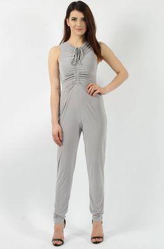 Slinky Sleeveless Light Grey Jumpsuit