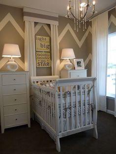 Babies Nursery-- I hate the chevron trend but I love the furniture arrangement:)