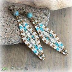 Diamond Shaped Peyote earrings , snake skin jasper stones , woven art