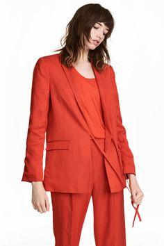 Linen-blend jacket - Red - Ladies | H&M 1